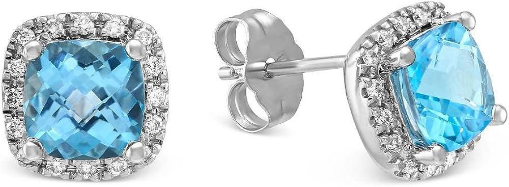 Pendientes de diamante topacio azul de corte de cojín de 3,35 quilates de oro blanco sólido de 14 quilates con sello