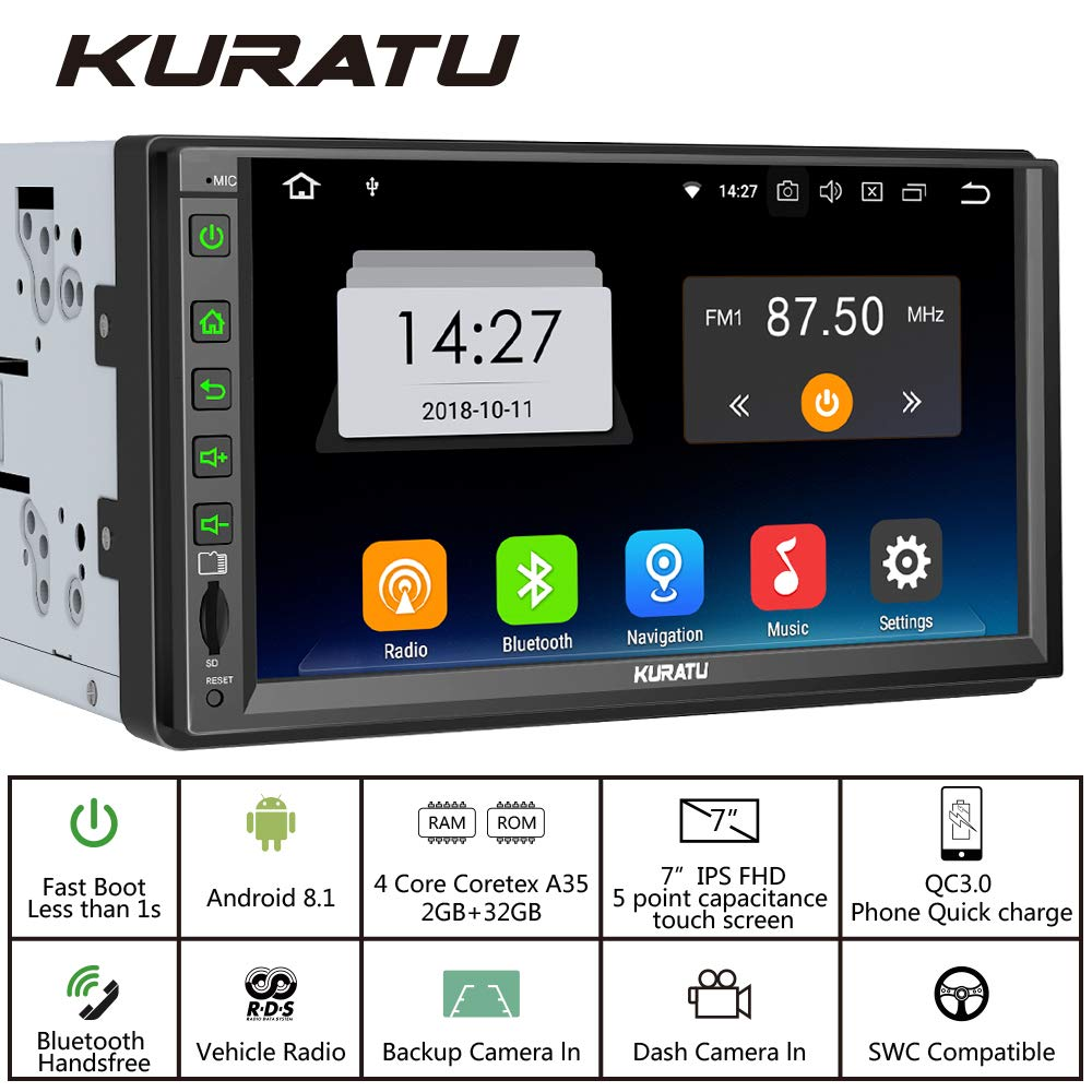KURATU [K8232] 7 inch IPS Panel,with Phone Quick Charge 3.0 Android 8.1 Car Stereo 2GB+32GB,Android Auto, Car Radio Double Din,Built-in Bluetooth/WiFi/GPS Navigation, Support Fastboot, Backup Camera