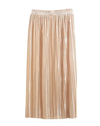 f3bad27946 Women's Long Skirt High Waist Thin Solid Color Metallic Luster Fashion  Pleated Skirt Apricot