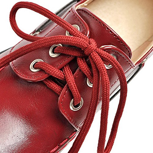 VogueZone009 Women's Solid PU Kitten-Heels Round Closed Toe Lace-up Pumps-Shoes Claret tss4e7s