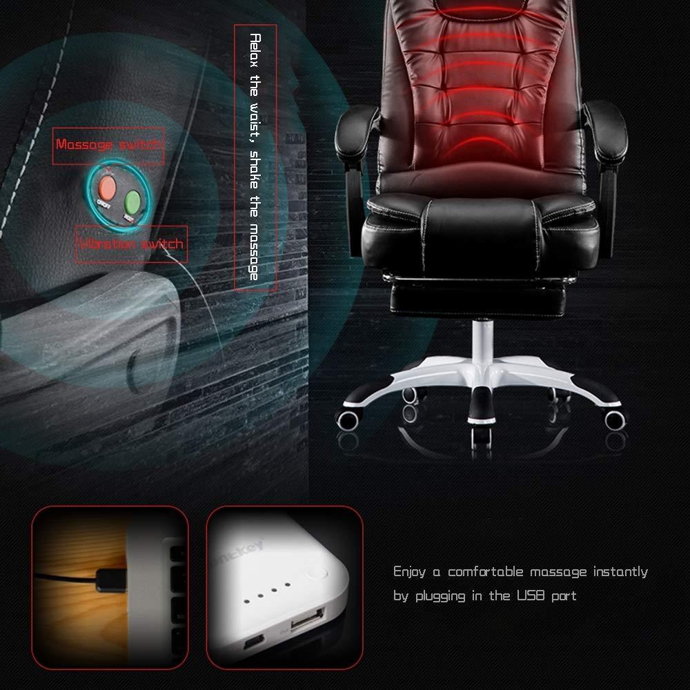 Bekväm kontorsstol, vilande med fotstöd hög rygg PU-läder verkställande dator skrivbord stol komfort och ergonomisk design Svart