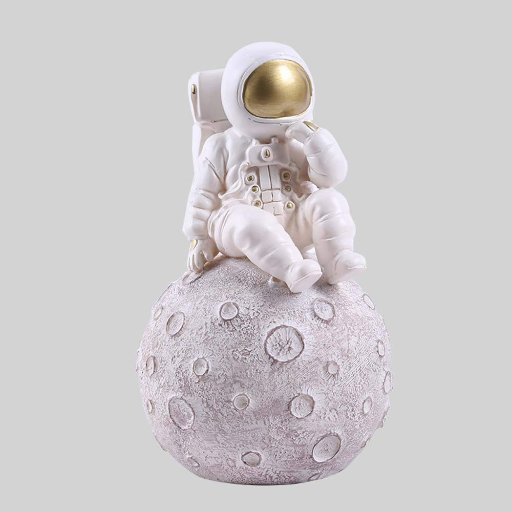 LCLZ Exquisite 121219cm Creative Spaceman Astronaut Home Resin Crafts Study Decoration Resin Decoration (Color : Silver)