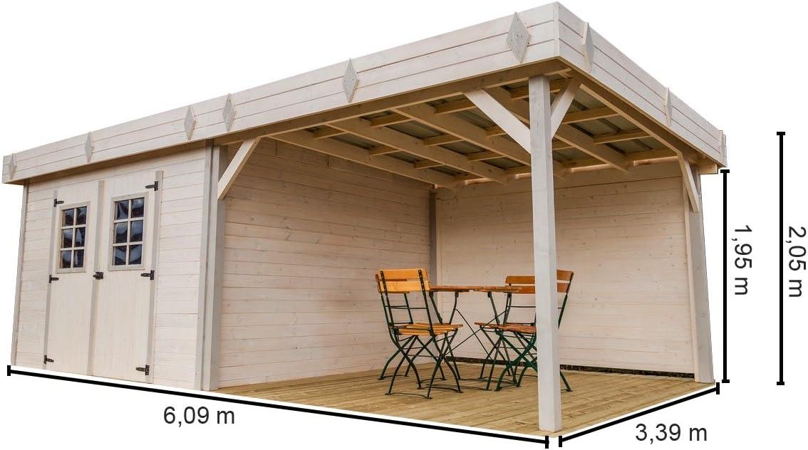 habrita – habrita – Abrigo en madriers massifs – Tejado Plano – con terraza: Amazon.es: Jardín