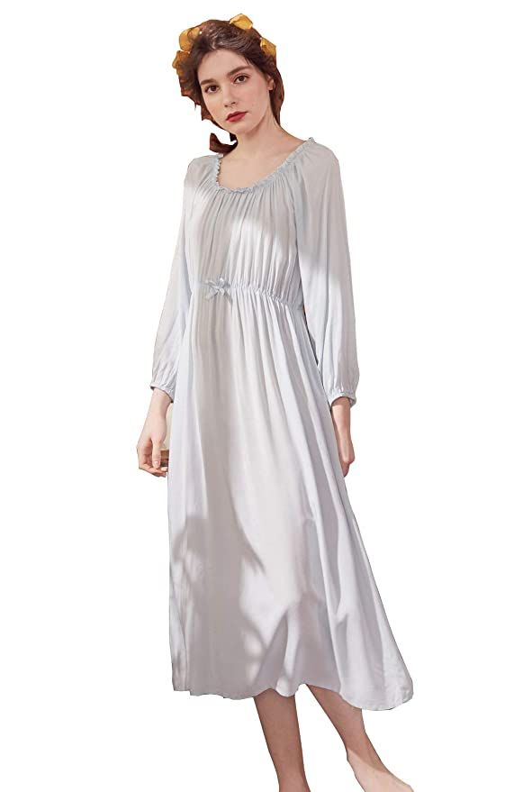 Regency Dress, Shoes | Jane Austen Clothing Camellia12 Womens Pride and Prejudice Cotton Nightgown Long Sleeve Sleepwear $29.99 AT vintagedancer.com