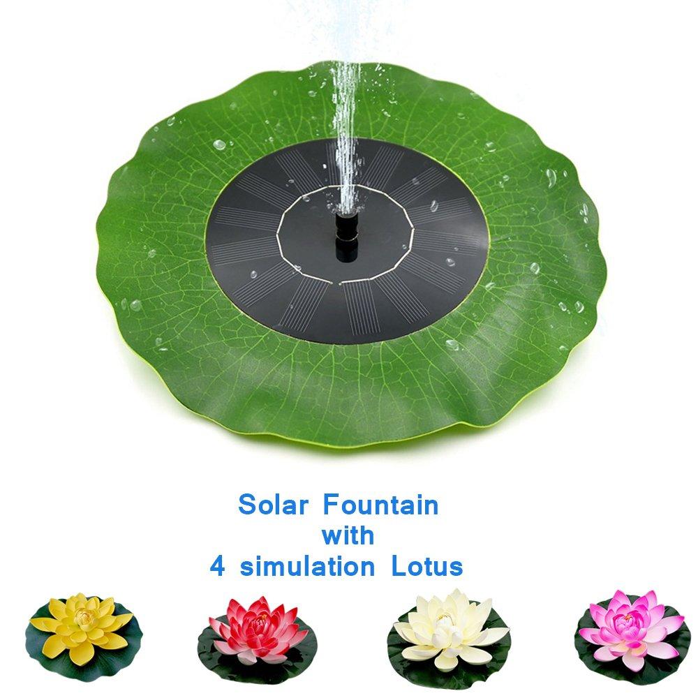 Dugoo Solar Fountain Pump, Free Standing 1.4W Bird Bath Solar Panel Kit Water Pump Decorative Pond With 4 Flower Simulation Lotus