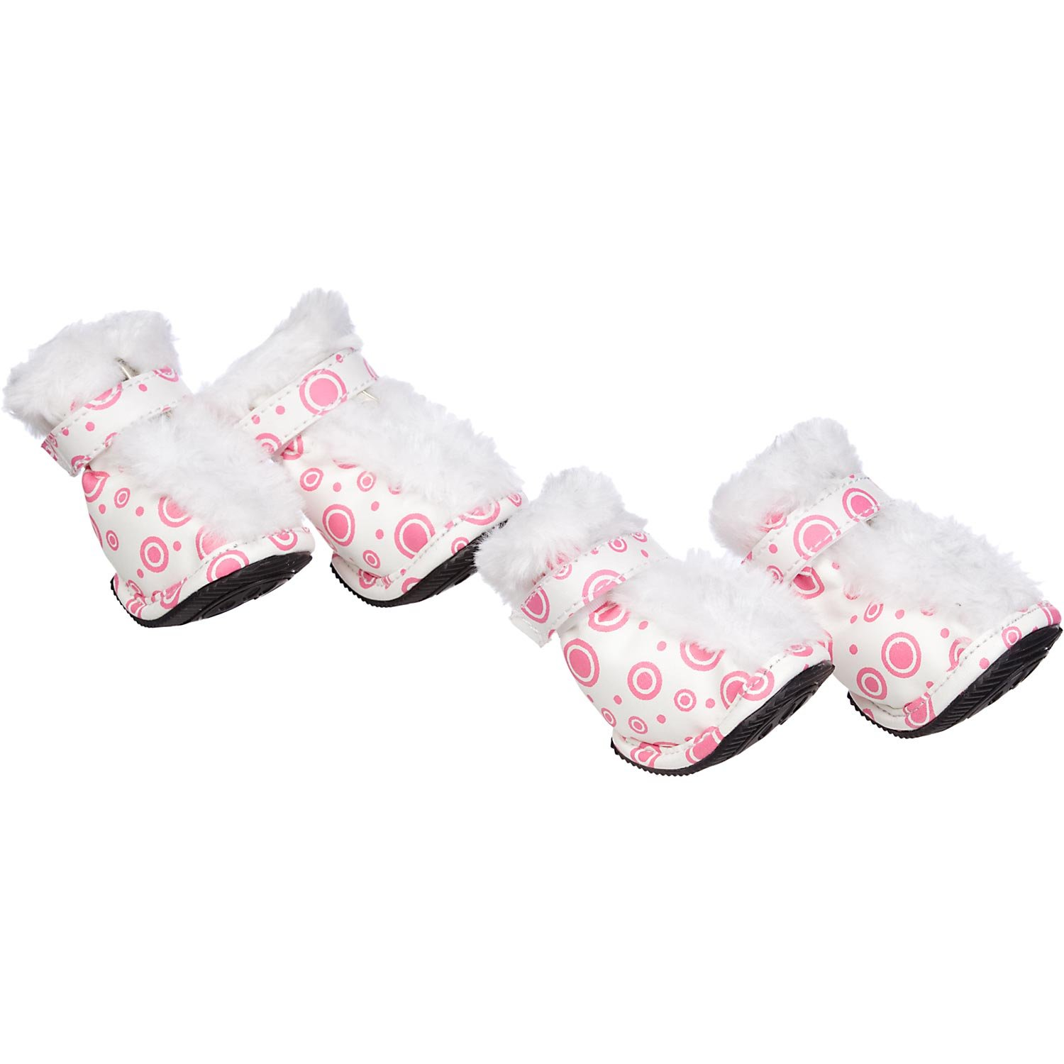 Pet Life Insulated Fashion Designer Plush Premium Fur-Comfort PVC Water resistant Supportive Pet Dog Shoes Booties Boots, Large, Pink & White