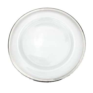 Clear Glass Charger 13 Inch Dinner Plate With Metallic Rim - Set of 4 - Silver