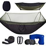 Anxin Camping Hammock with Mosquito Bug Netting,Packable Hammock with Tree Straps and Carabiners,Parachute Nylon Hanging Swin