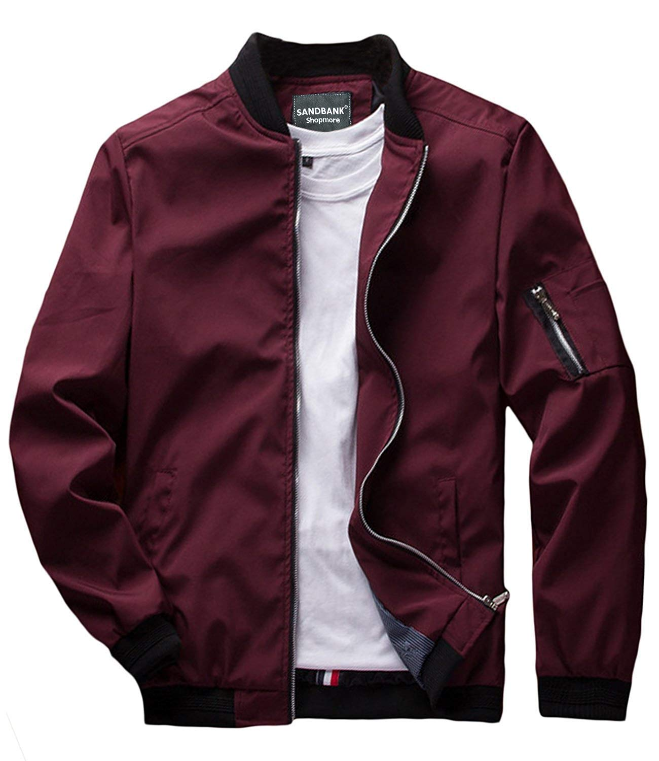 sandbank Men's Slim Fit Lightweight Softshell Flight Bomber Jacket Coat (US M = Asian Tag 3XL, Wine Red #2) by sandbank