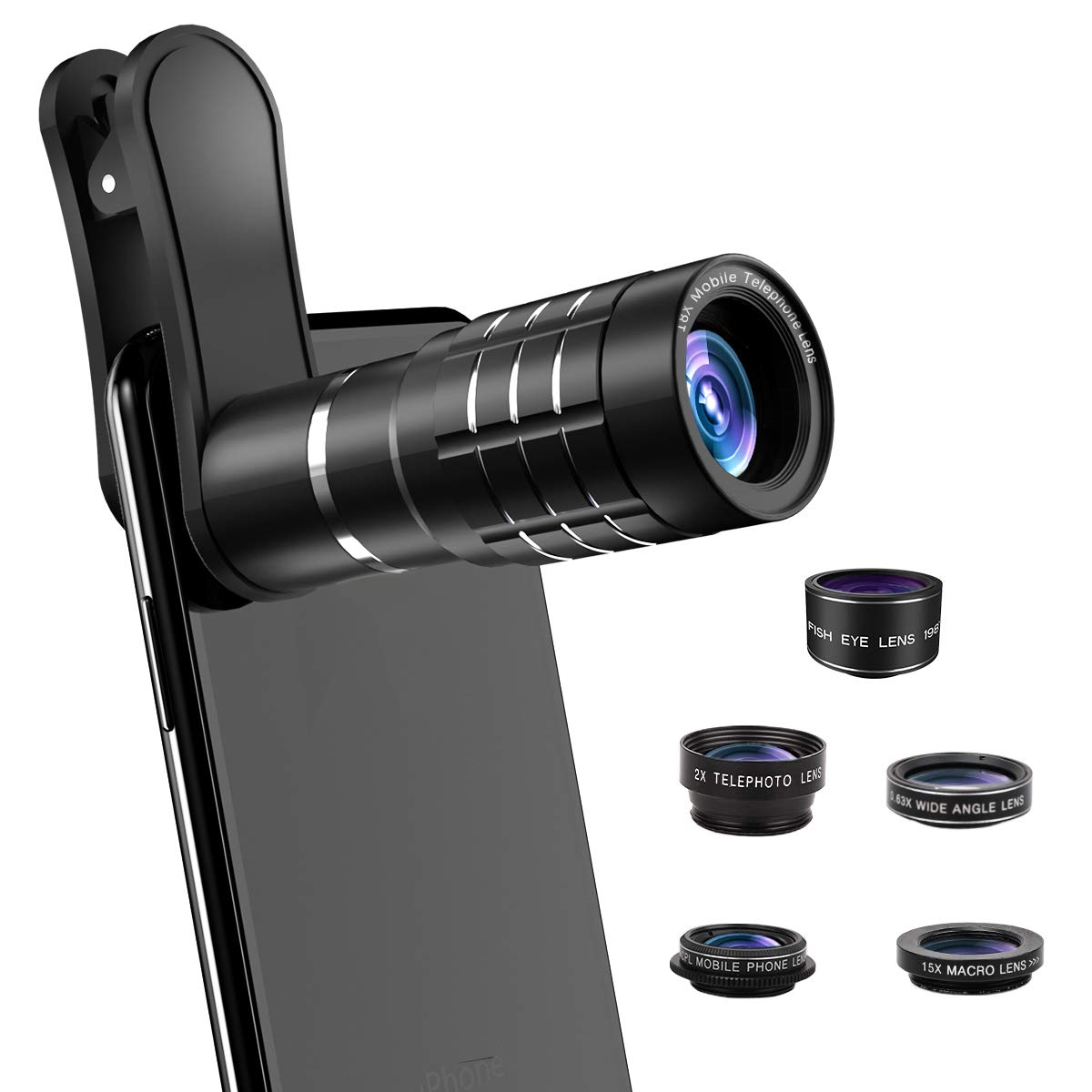 Phone Camera Lens, [2019 Latest Version] AOMAIS 9 in 1 Phone Lens Kit, 18X Zoom Telephoto Lens Super Wide Angle Lens Macro Lens Fisheye Lens 2X Telephoto Lens CPL, Compatible with iPhone X XS & More