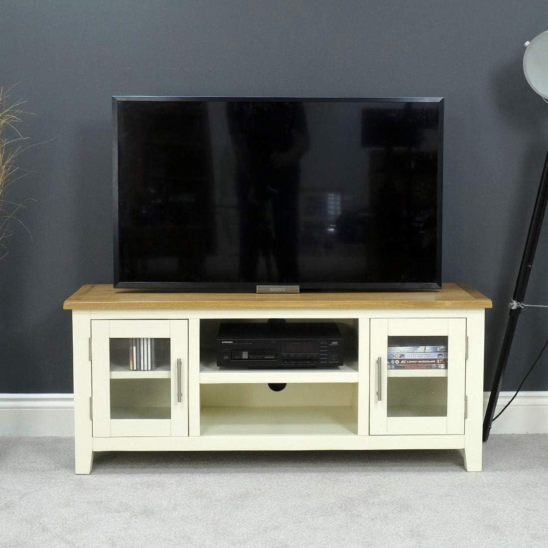 Nebraska roble pintado – crema grande TV Plasma DVD Video unidad soporte gabinete – Montado: Amazon.es: Hogar