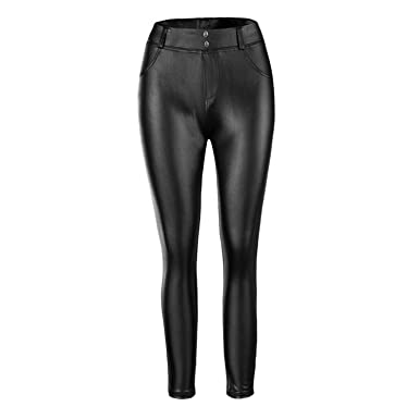 Startreen Pantalon Femme Longue Taille Elastique Stretch Cuir PU Collant  Slim Crayon Casual Jogging Leggings Noir db6584909c1