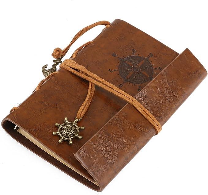 Stylo A5 Carnet De Voyage Carnet De Notes Journal En Relief En Cuir Vintage Ecriture Cahier Cuir Antique Rustique Souple Cuir 20x15cm Cadeau Id/éal Carnet De Croquis Motif De Montagnes