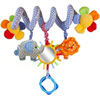 Baby Music Bed Hanging Cribs Toy, Cute Plush Activity Stroller Soft Toys Hanging Rattle Gift for Pushchair Pram Car Seat Cot from, Elepahant Lion with Mirror and Bell Shape
