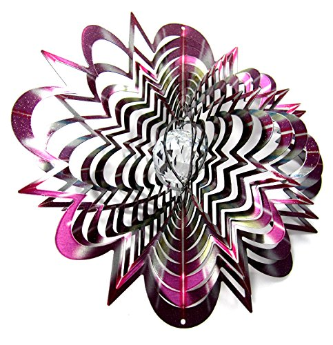 - WorldaWhirl Whirligig 3D Wind Spinner Hand Painted Stainless Crystal Zenith Star (12
