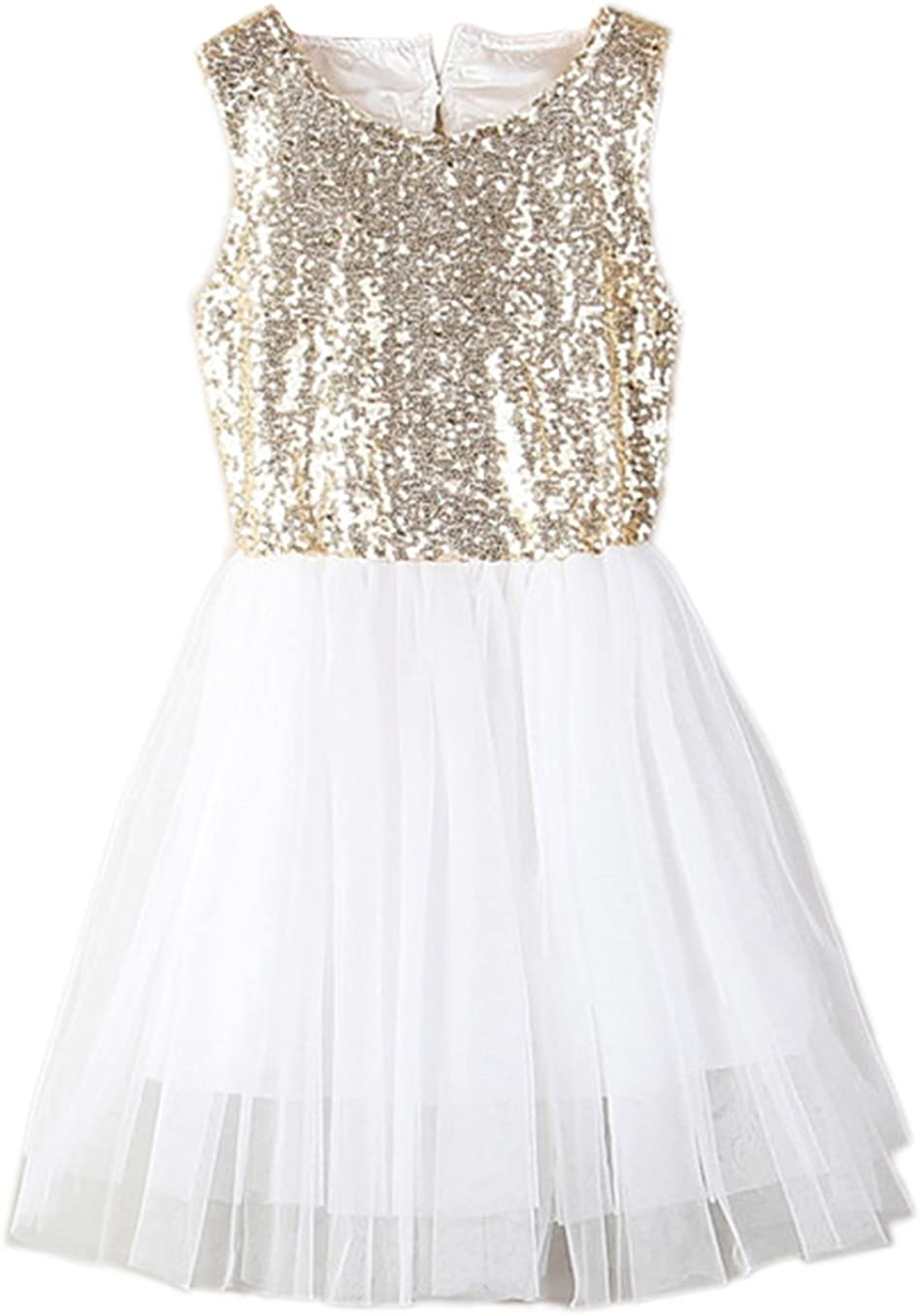 StylesILove Toddler Kids Gold Sequin Tulle Heart-Shape Back Sleeveless Flower Girl Dress