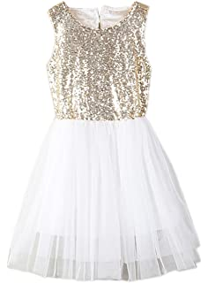 925b0697 stylesilove Toddler Kids Gold Sequin Tulle Heart-Shape Back Sleeveless Flower  Girl Dress