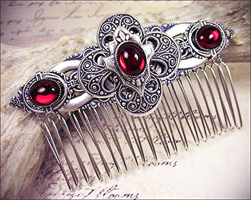 Antiqued Filigree Medieval Renaissance Style Bridal Comb with Featured Quatrefoil Centerpiece and Glass Stones - Avebury