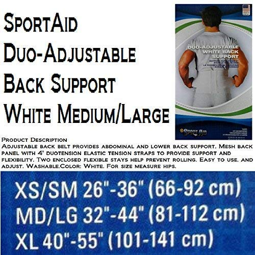 (Sportaid Back Belt, White, 9 Inches, Medium,Large - 1 Each)