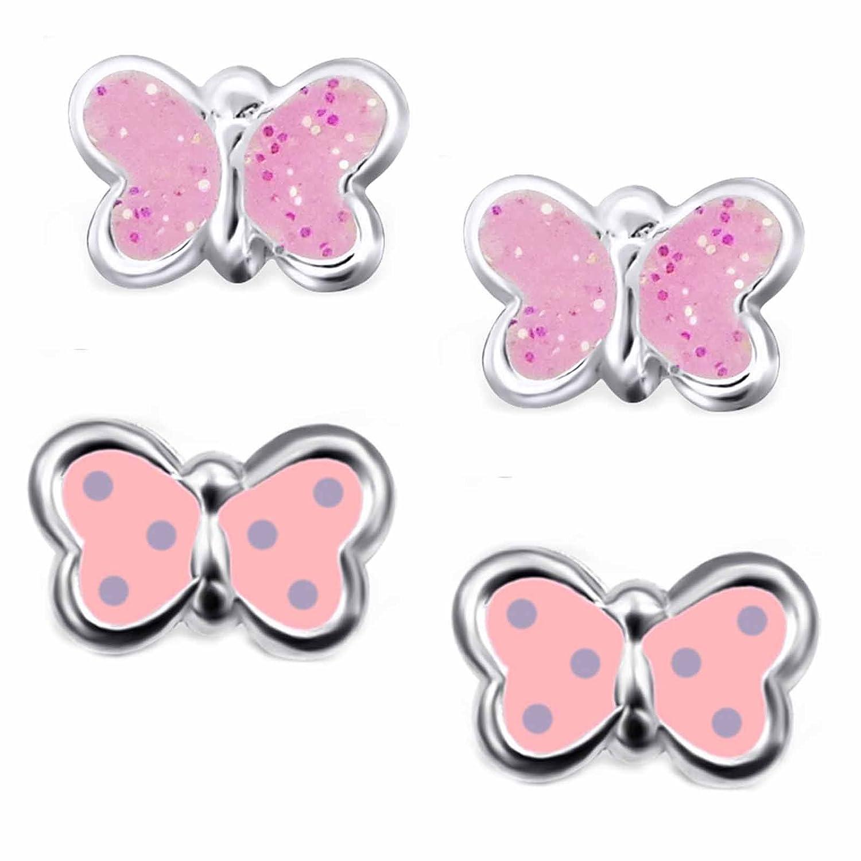 SL-Silver Lot de 2paires de boucles d'oreilles pour enfants, petits papillons en argent 925dans une boîte cadeau set66