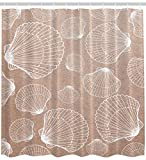 Seashell Shower Curtain Nautical Nature Decor by Ambesonne, Beach Large and Small Seashells Coastal Sea Life Creatures Sand Fabric Bath Set with Hooks, 69 Wide x 70 Inches Long Light Brown Tan White