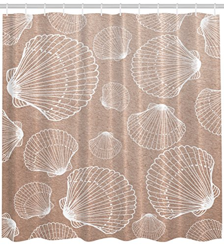 Seashell Shower Curtain Nautical Nature Decor by Ambesonne, Beach Large and Small Seashells Coastal Sea Life Creatures Sand Fabric Bath Set with Hooks, 69 Wide x 70 Inches Long Light Brown Tan White - Shell Coastal Decor