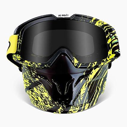WLZP Motocicleta Gafas Máscara desmontable, Máscara de la motocicleta, Casco UV400 Compatible, Para Airsoft CS Desert Offroad Riding Esquí en moto de ...