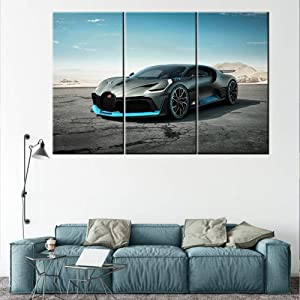 TUMOVO Bugatti Vision Gran Turismo Hypercar Super Car Canvas Print Wall Art Picture Canvas Prints with Frame Home Decor for Livingroom Ready to Hang 40 x 20inch x 3 Panels