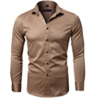Harrms Men's Dress Shirts Long Sleeve Formal Shirts for Men Bamboo Fiber Slim Fit Solid Casual Button Down Shirts, Elastic,15 Colors