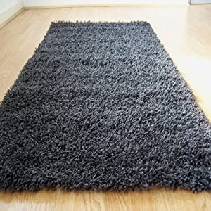 Yazz Plain Dark Grey Shaggy Pile Rugs 120x170cm Cheap