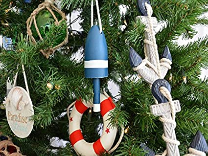 wooden blue lobster buoy christmas tree ornament nautical christmas tree deco