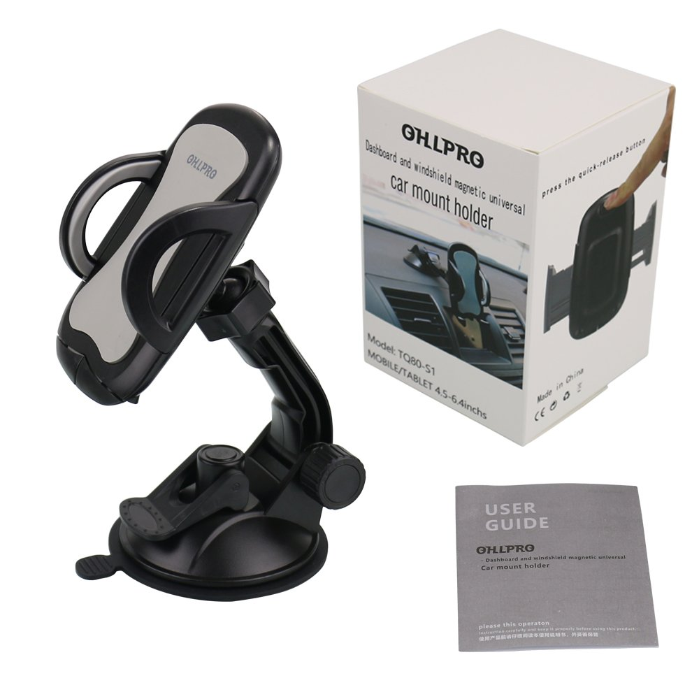 Car Phone Mount,OHLPRO Cell Phone Holder For Car Dash Windshield Dashboard Universal 360°Adjustable Rotating for iPhone Samsung SONY Google All 4''- 6.4'' Smartphones GPS Mobile (Silver) by Ohlpro (Image #7)