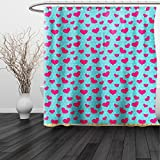 Hot Pink Polka Dot Shower Curtain HAIXIA Shower Curtain Pop Art by Retro 50s 60s Style Image with Hearts Abstract Polka Dots Art Print Hot Pink and Turquoise