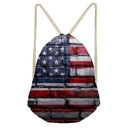 showudesigns elegante patrón niños adultos cordón bolsa Gymbag mochila, color flag 2, tamaño medium