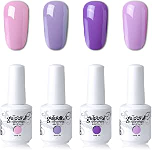 Elite99 UV LED Gel Nail Polish Varnish 15ML Soak off Nail Art Manicure Set 4 Colors with (20pcs Gel Remover Wraps) C102