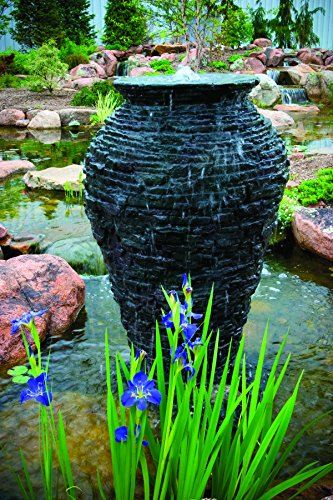 Aquascape Large Stacked Slate Urn Fountain for Pond Water Feature Landscape and Garden