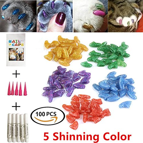 GRAEAR 100Pcs Cat Nail Caps Pet Soft Claws Covers Control Paws Of 5 Different Shinning Glitter Crystal Colors and 5Pcs Adhesive Glue 5pcs Applicator with Instructions (M)