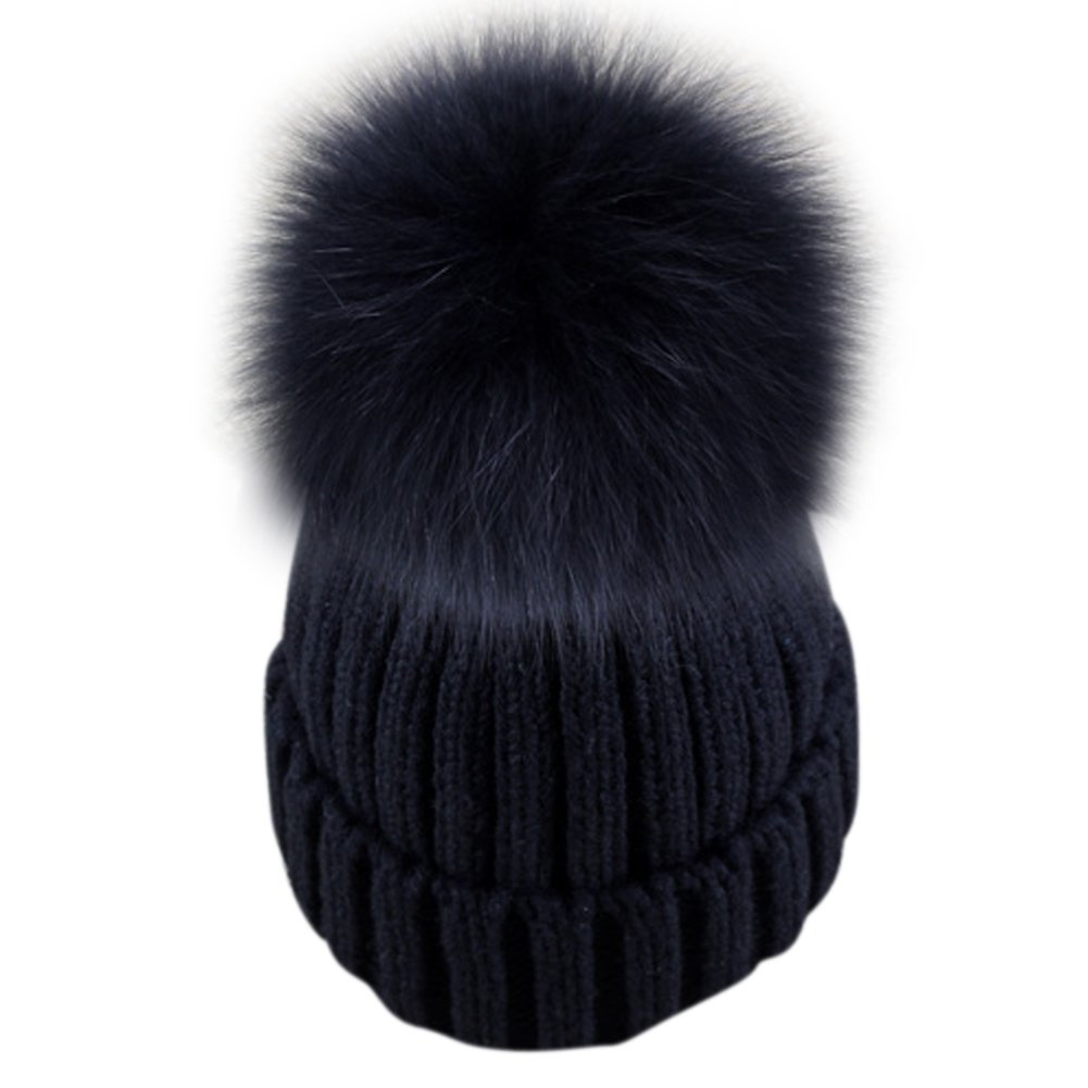 607d657b6e5 Dikoaina Womens Girls Knitted Fur Hat Real Large Silver Fox Fur Pom Pom  Beanie Hats (Black with black pom) at Amazon Women s Clothing store