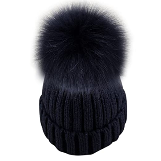 Dikoaina Womens Girls Knitted Fur Hat Real Large Silver Fox Fur Pom Pom  Beanie Hats ( adc697f5dec6