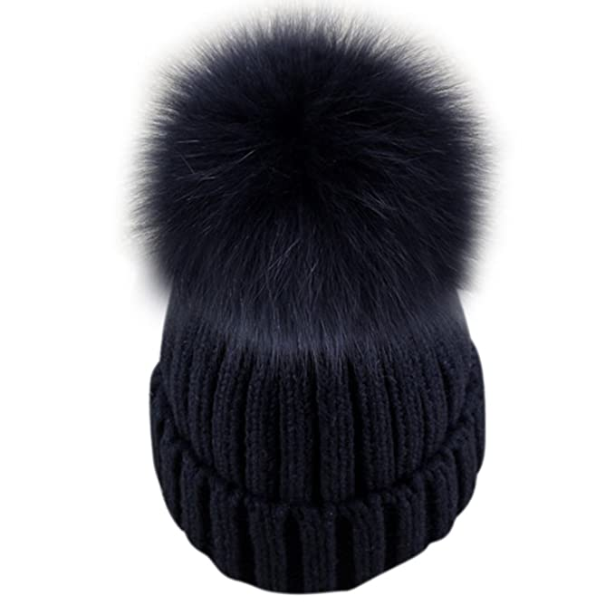4b129e84623 Dikoaina Womens Girls Knitted Fur Hat Real Large Silver Fox Fur Pom Pom  Beanie Hats (