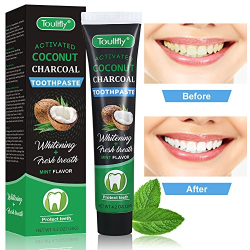 Teeth Whitening Toothpaste, Natural Coconut Activated Charcoal Teeth Whitening Toothpaste, Activated Coconut Shell – Eliminates Bad Breath, Coffee & Tea Stains, Oral Germs