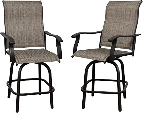 Long World 2 PCS Outdoor Swivel Bar Stools, All-Weather Patio Bistro Stools, Outdoor Furniture Bar Stools, Suitable for Yard, Lawn and Garden.