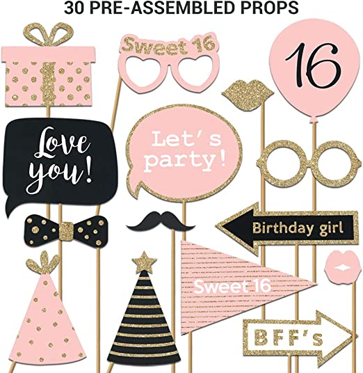 Ongekend Amazon.com: Fully Assembled Sweet 16 Birthday Photo Booth Props TC-66