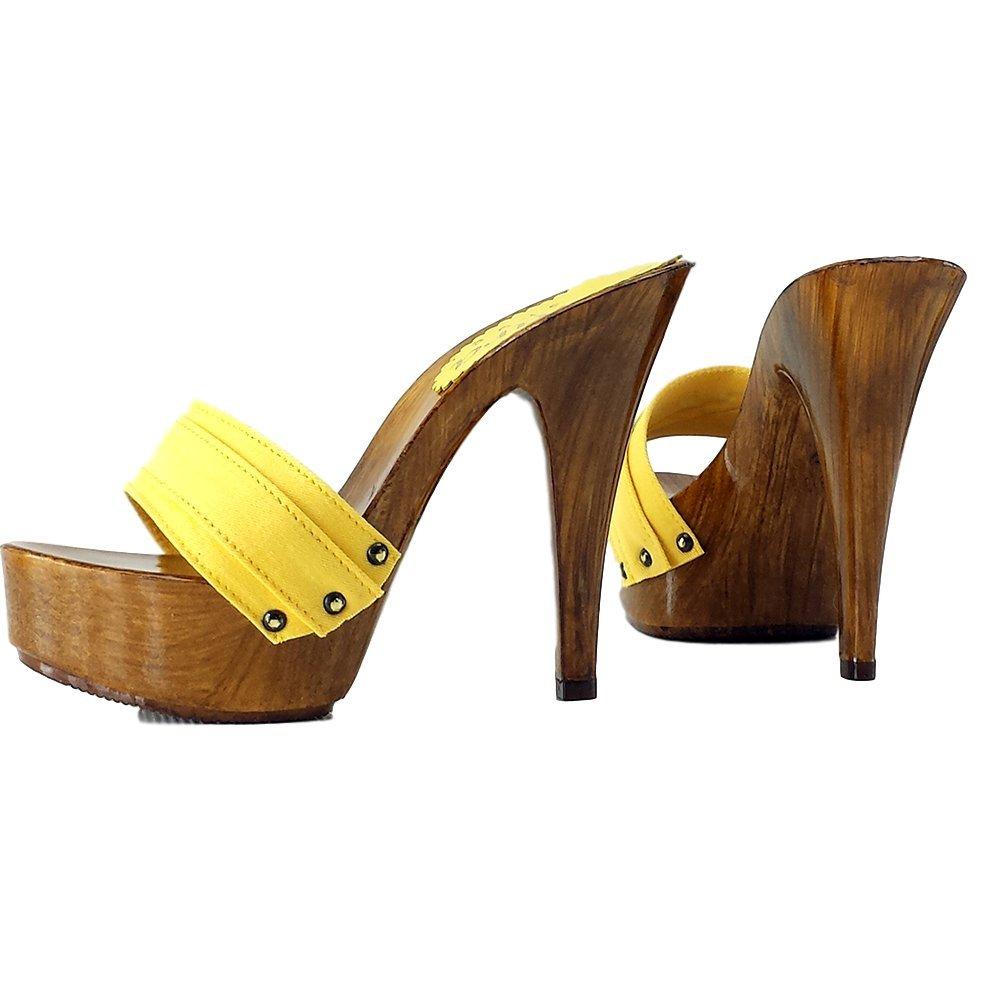 Kiara scarpe Zoccoli Tacco 13 cm-K9101 Giallo Giallo Giallo 294c9f