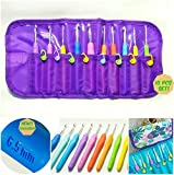 Image of Crochet Hooks Set w/ Grips 2mm to 6.5mm Needle Case Organizer & 10 Stitch Markers EXCLUSIVE K Hook Size Ergonomic Handles Longer Shaft Than Others To Allow More Yarn Loops - Deep Throat Sharp Smooth.