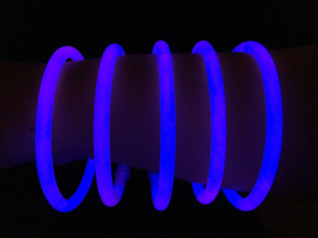 "Glow Sticks Bulk Wholesale Bracelets, 100 8"" Blue Glow Stick Glow Bracelets, Bright Color, Glow 8-12 Hrs, 100 Connectors Included, Glow Party Favors Supplies, Sturdy Packaging, GlowWithUs Brand"