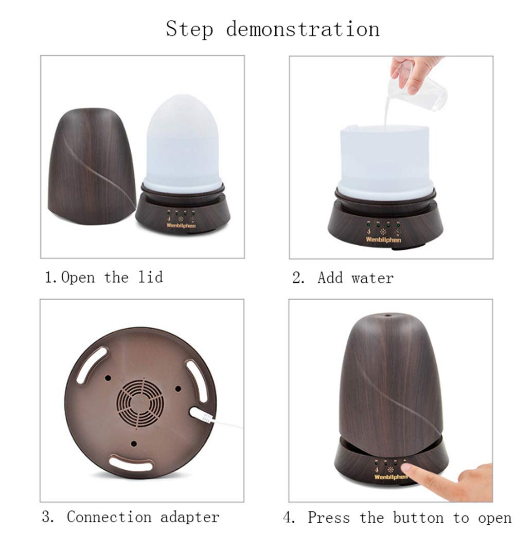 QSCA Ultrasonic Wood Grain humidifier 350ml Wood Grain Aromatherapy Machine humidifier Household atomized Oil Diffuser by QSCA (Image #3)