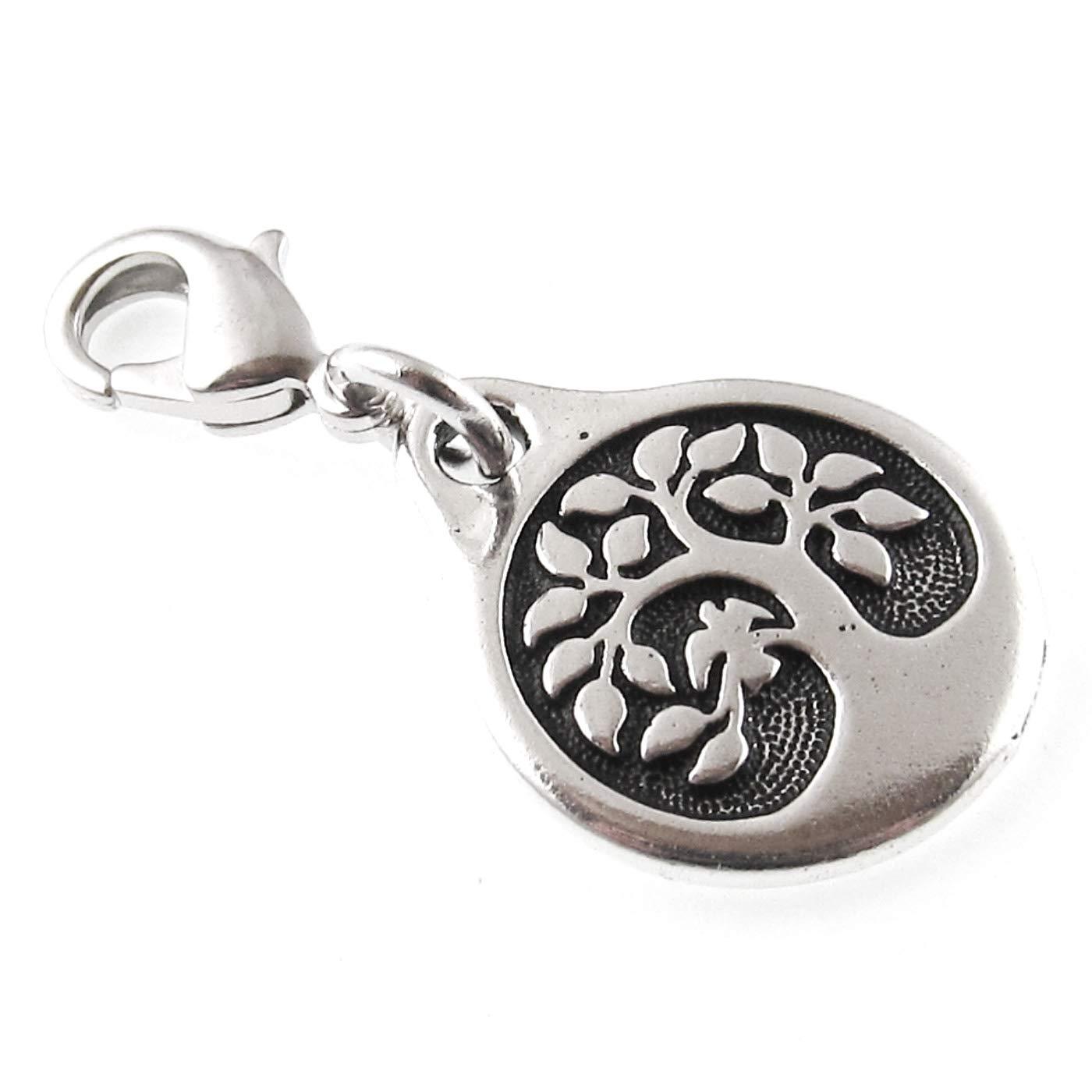 Purse Charm Silver Bird in a Tree Clip on Charm Zipper Pull