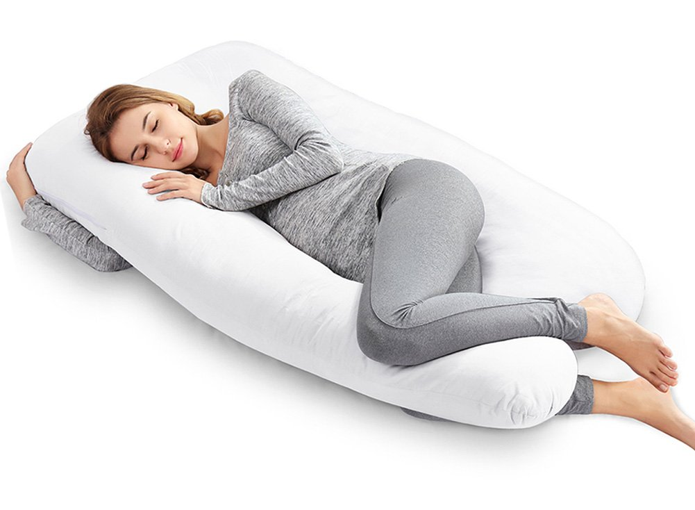 AngQi Full Body Pillow - 55-inch Pregnancy Pillow - U Shaped Maternity Pillow for Back Pain and Pregnant Women with Washable Cotton Cover - White