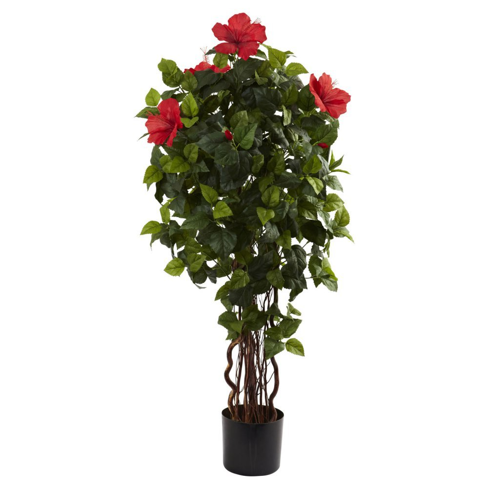 Nearly Natural 4 ft. Hibiscus Silk Tree